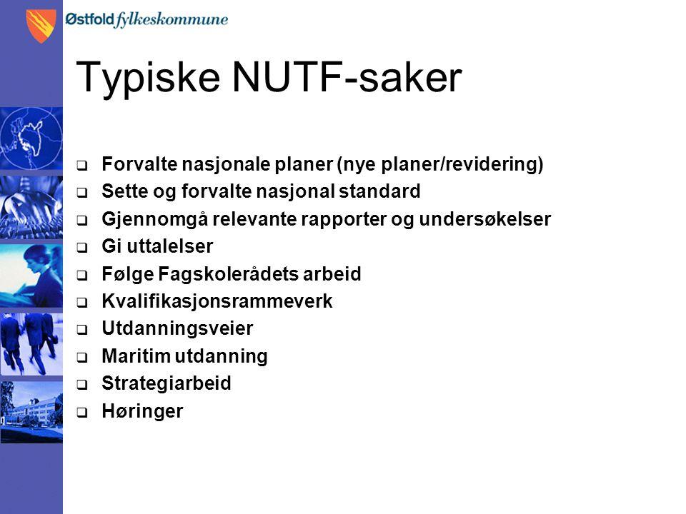 Typiske NUTF-saker Forvalte nasjonale planer (nye planer/revidering)
