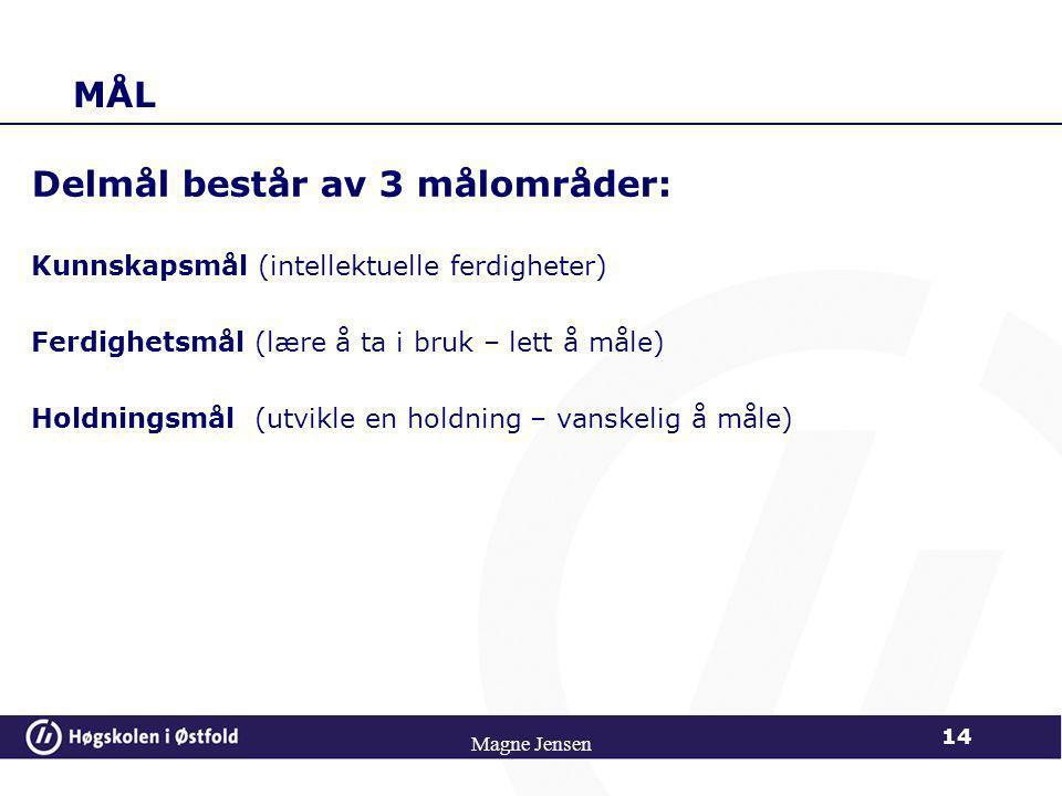 Delmål består av 3 målområder: