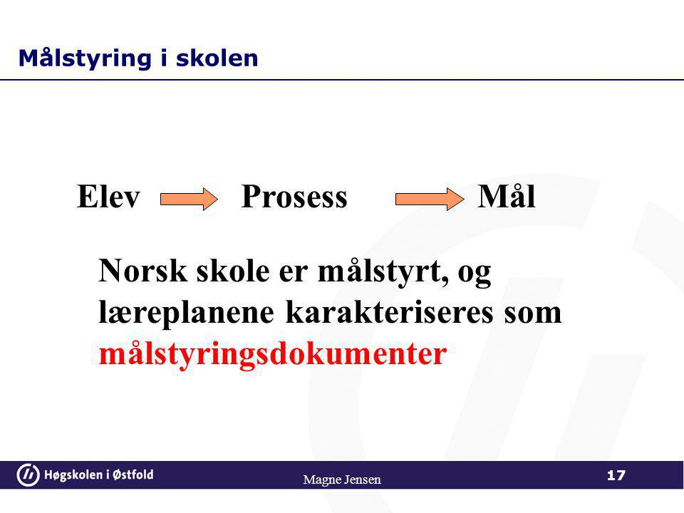 Målstyring i skolen Elev. Prosess. Mål. Norsk skole er målstyrt, og læreplanene karakteriseres som målstyringsdokumenter.