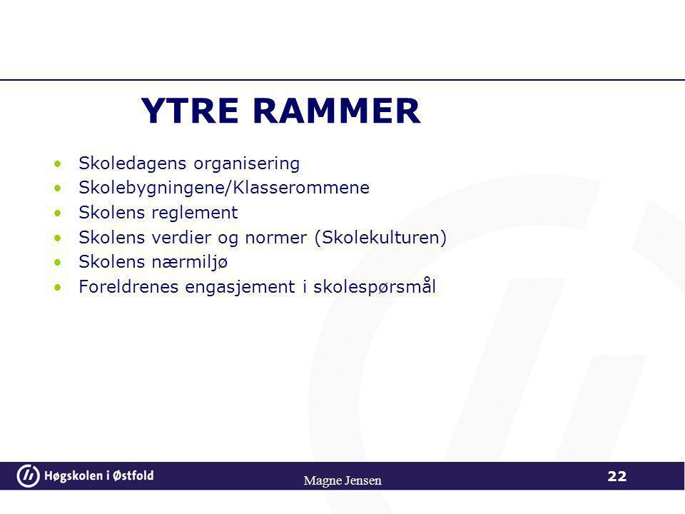 YTRE RAMMER Skoledagens organisering Skolebygningene/Klasserommene