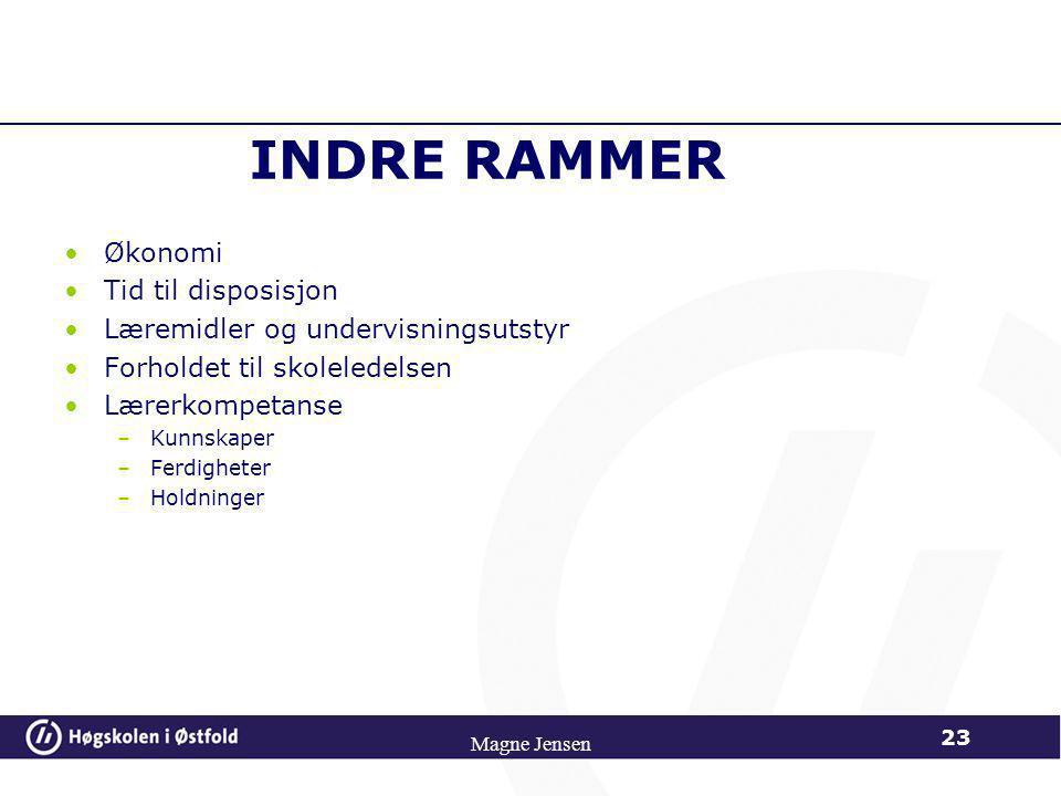 INDRE RAMMER Økonomi Tid til disposisjon