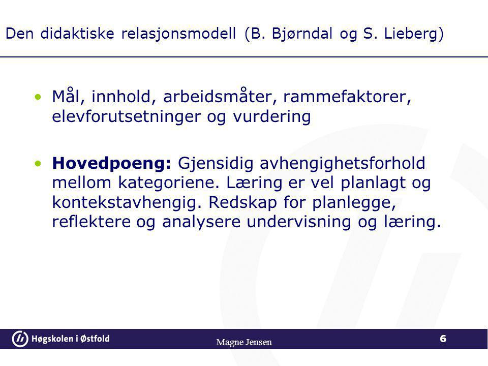 Den didaktiske relasjonsmodell (B. Bjørndal og S. Lieberg)
