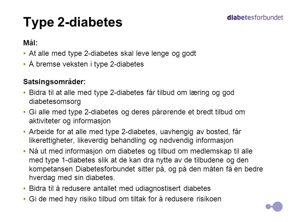 Type 2-diabetes Mål: At alle med type 2-diabetes skal leve lenge og godt. Å bremse veksten i type 2-diabetes.