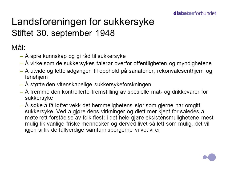 Landsforeningen for sukkersyke Stiftet 30. september 1948