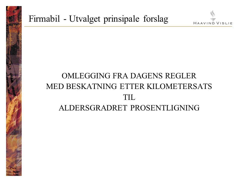 Firmabil - Utvalget prinsipale forslag