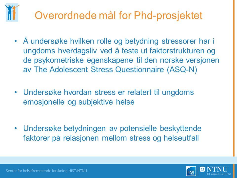 Overordnede mål for Phd-prosjektet