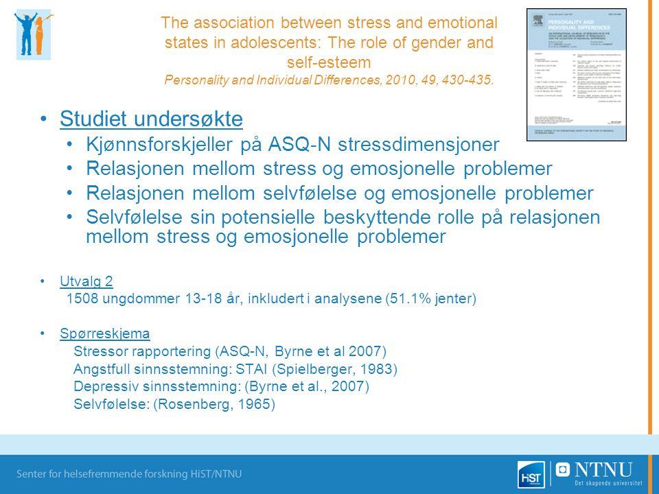 Studiet undersøkte Kjønnsforskjeller på ASQ-N stressdimensjoner