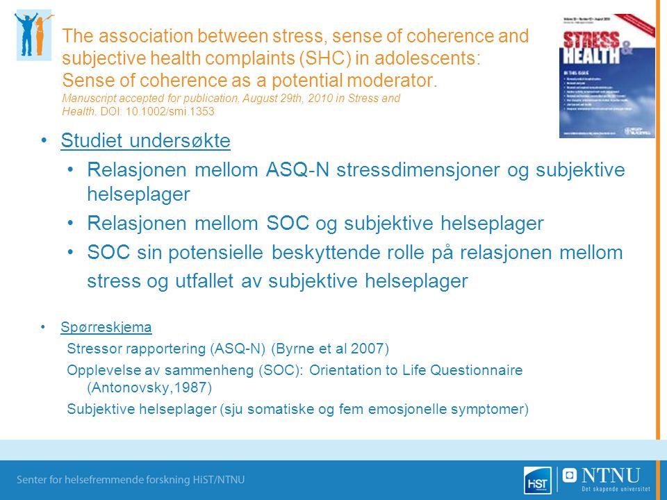Relasjonen mellom ASQ-N stressdimensjoner og subjektive helseplager