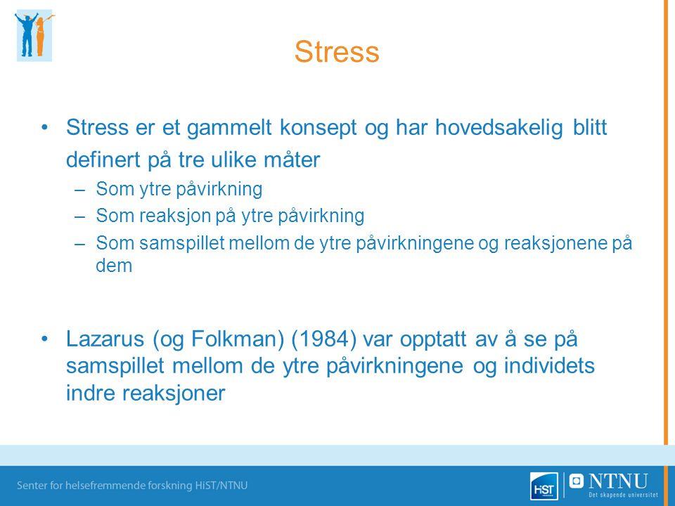 Stress Stress er et gammelt konsept og har hovedsakelig blitt