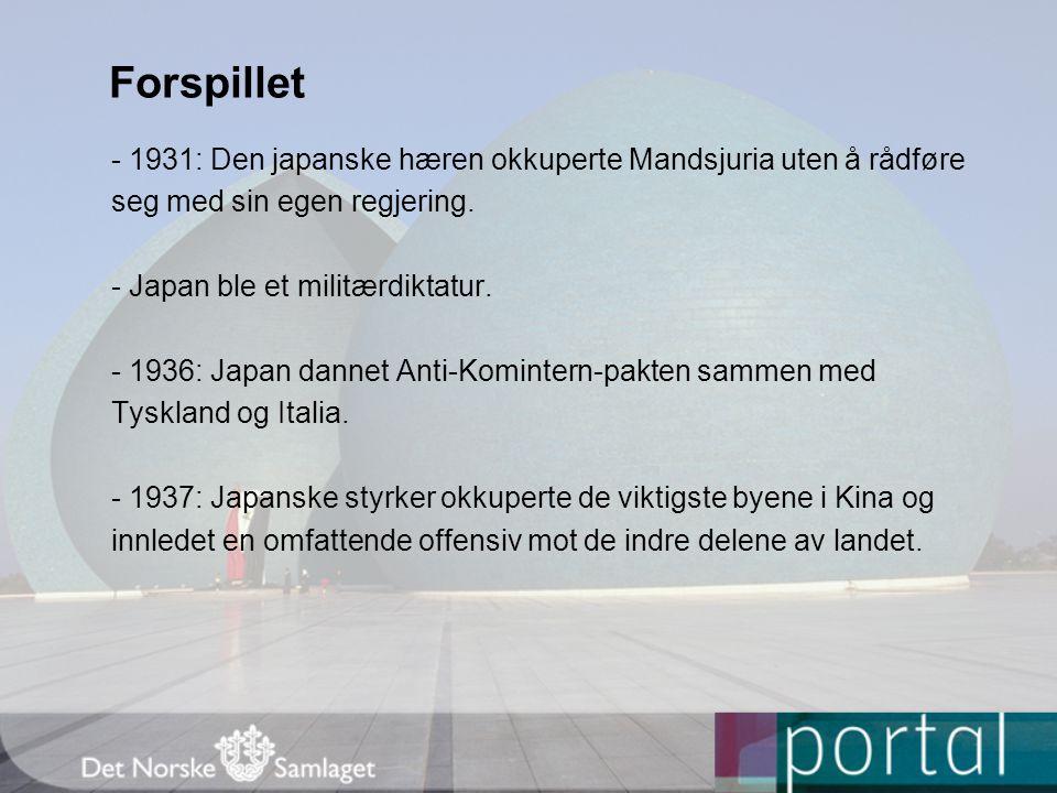 Forspillet - 1931: Den japanske hæren okkuperte Mandsjuria uten å rådføre. seg med sin egen regjering.