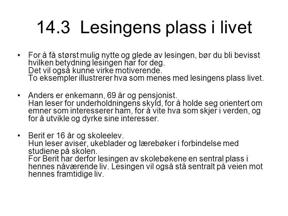 14.3 Lesingens plass i livet