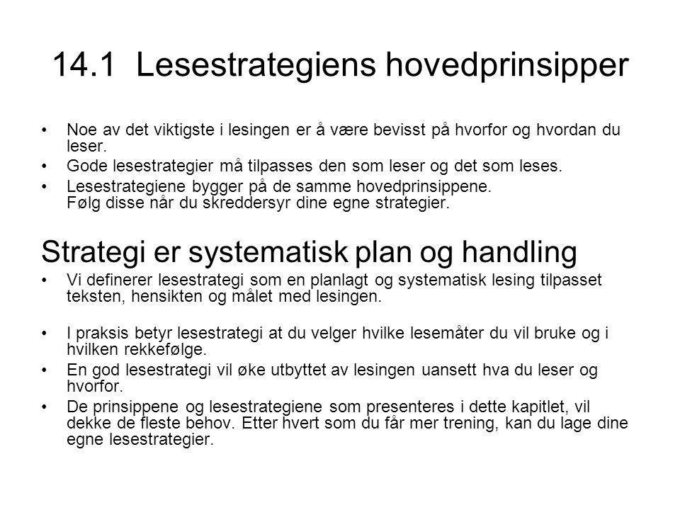 14.1 Lesestrategiens hovedprinsipper