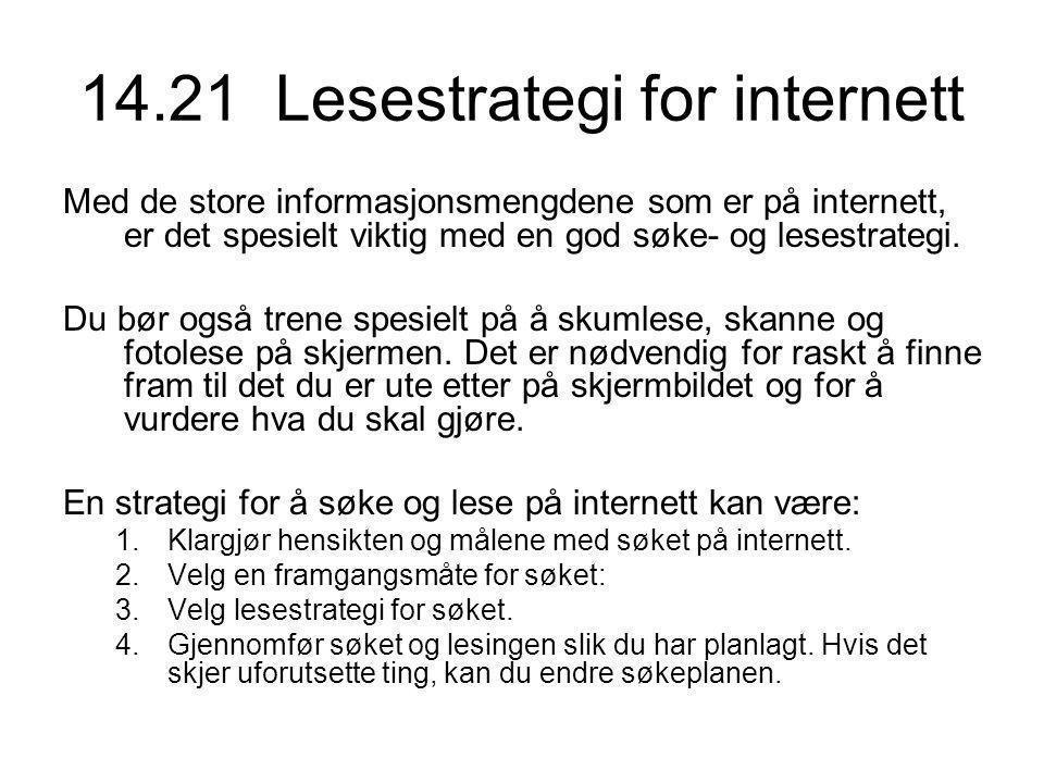 14.21 Lesestrategi for internett