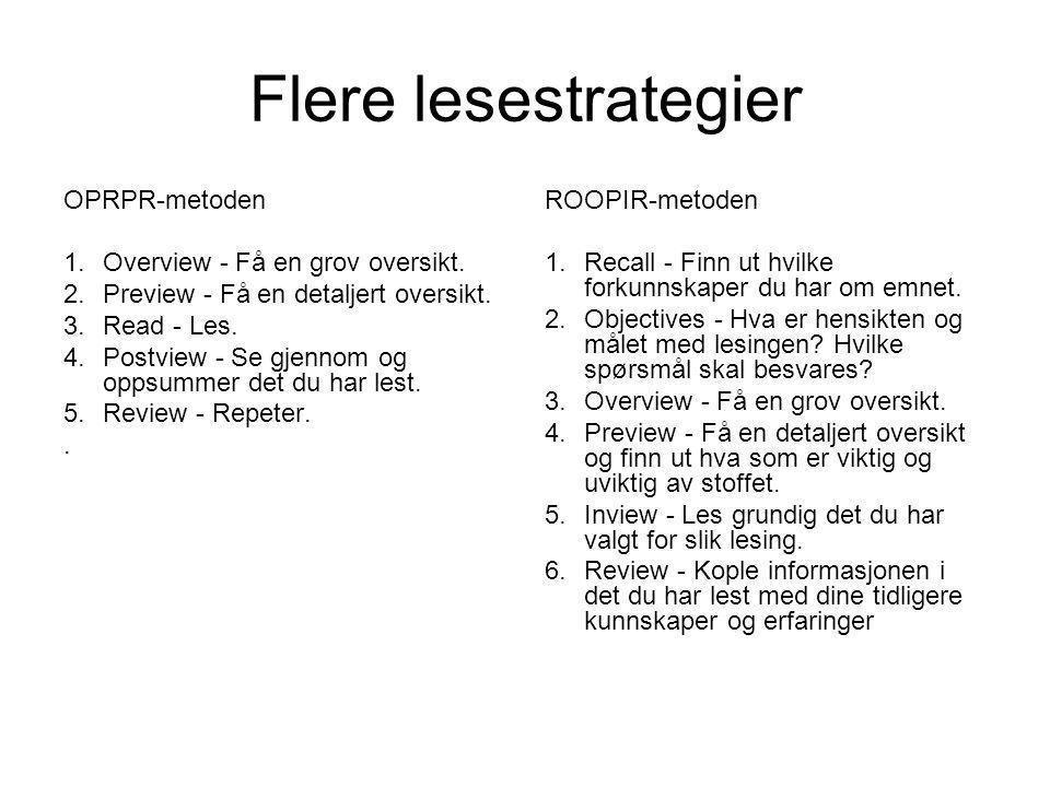Flere lesestrategier OPRPR-metoden Overview - Få en grov oversikt.