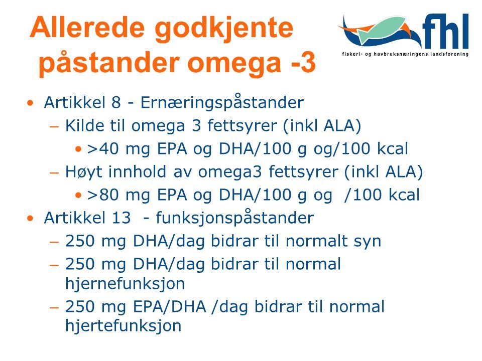 Allerede godkjente påstander omega -3