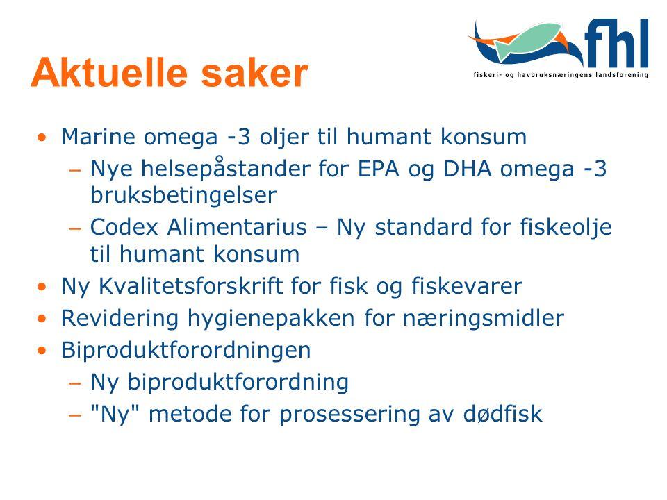 Aktuelle saker Marine omega -3 oljer til humant konsum