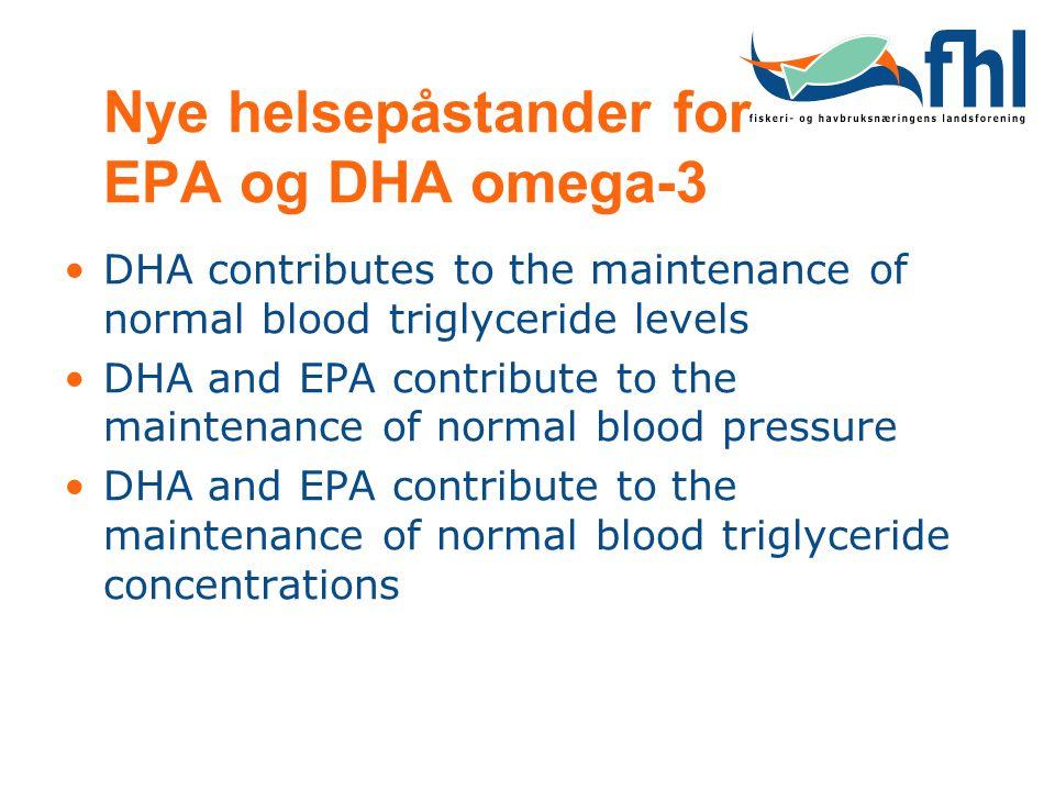 Nye helsepåstander for EPA og DHA omega-3