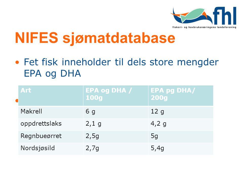 NIFES sjømatdatabase Fet fisk inneholder til dels store mengder EPA og DHA. Art. EPA og DHA / 100g.
