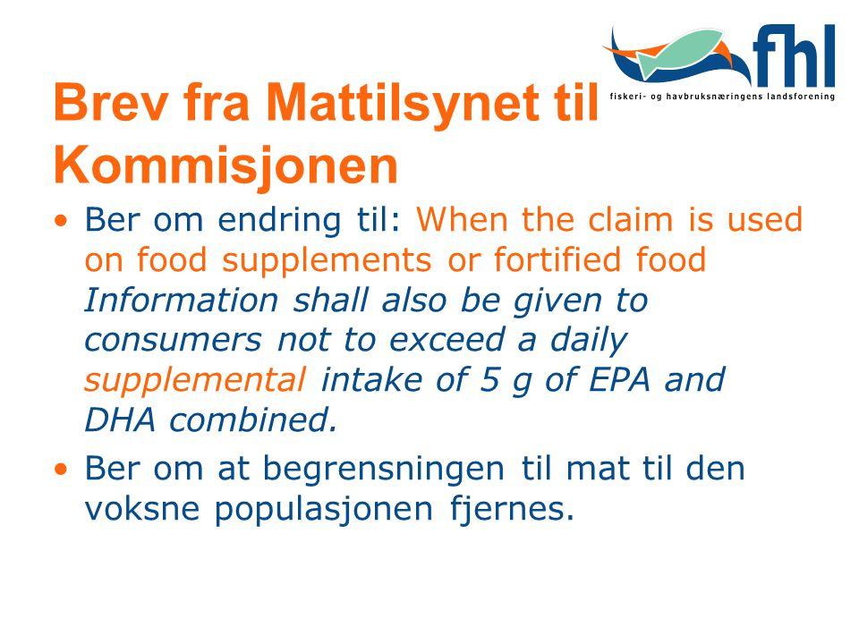 Brev fra Mattilsynet til Kommisjonen