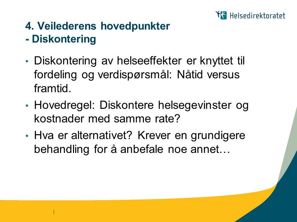 4. Veilederens hovedpunkter - Diskontering