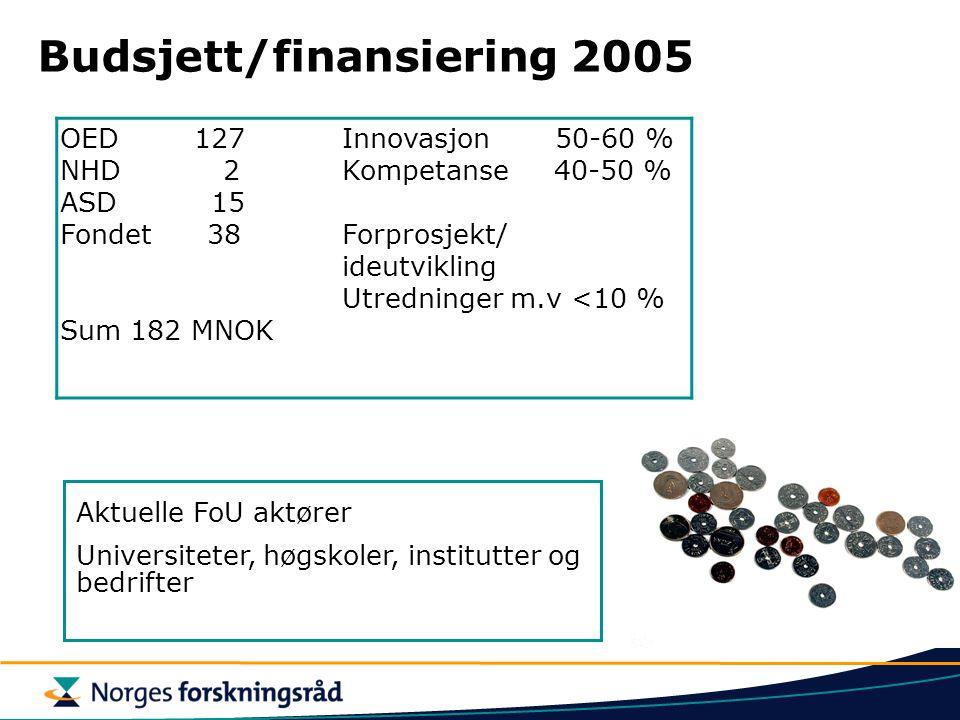 Budsjett/finansiering 2005