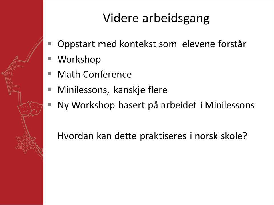Videre arbeidsgang Oppstart med kontekst som elevene forstår Workshop