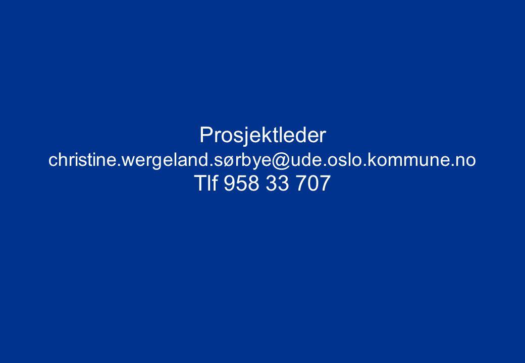 Prosjektleder christine. wergeland. sørbye@ude. oslo. kommune