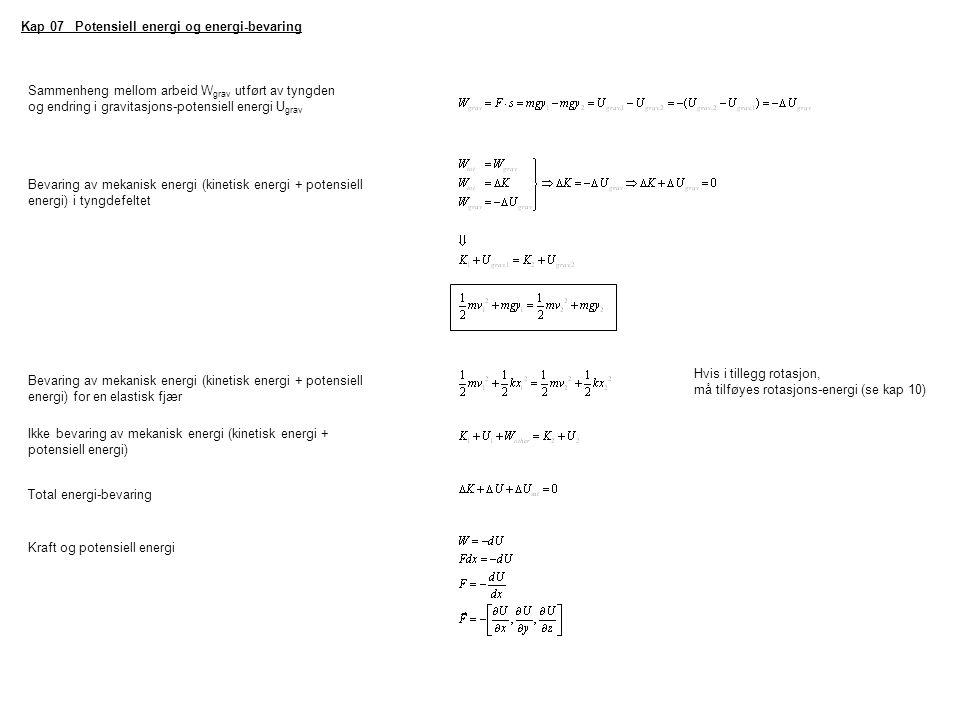 Kap 07 Potensiell energi og energi-bevaring