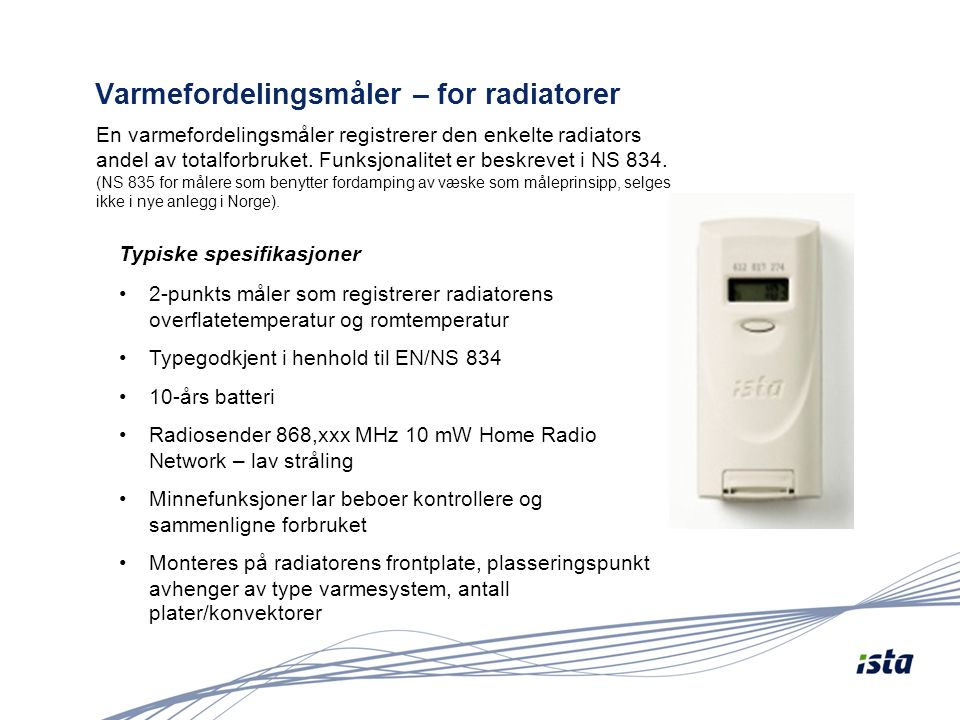 Varmefordelingsmåler – for radiatorer