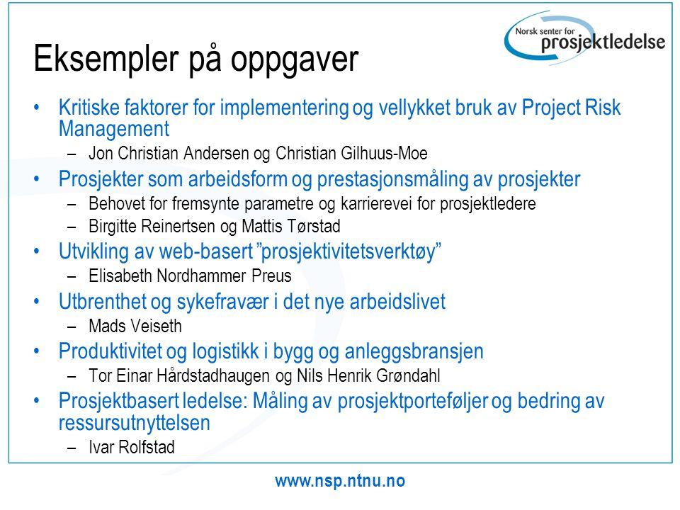 Eksempler på oppgaver Kritiske faktorer for implementering og vellykket bruk av Project Risk Management.