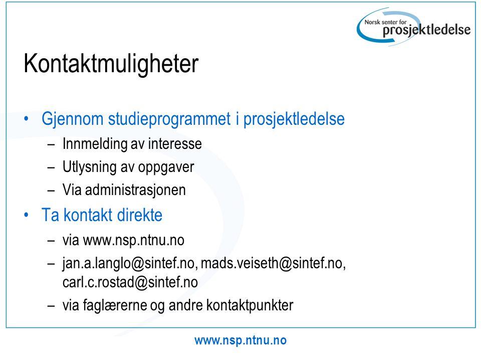 Kontaktmuligheter Gjennom studieprogrammet i prosjektledelse
