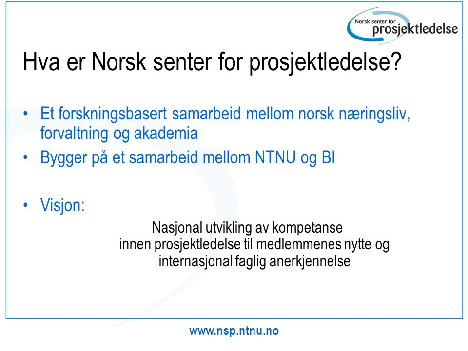 Hva er Norsk senter for prosjektledelse