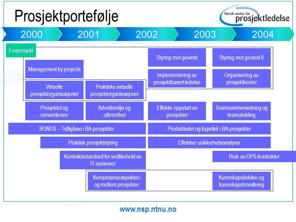 Prosjektportefølje 2000 2001 2002 2003 2004 www.nsp.ntnu.no