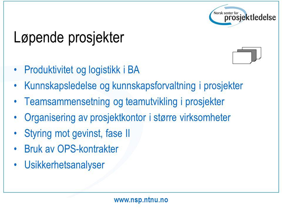 Løpende prosjekter Produktivitet og logistikk i BA