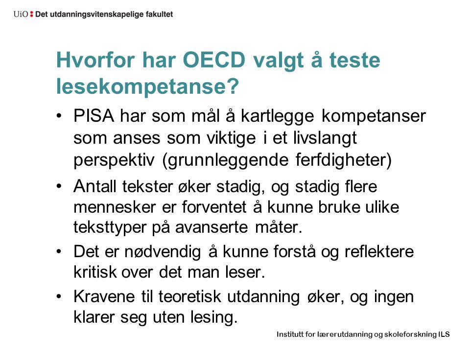 Hvorfor har OECD valgt å teste lesekompetanse