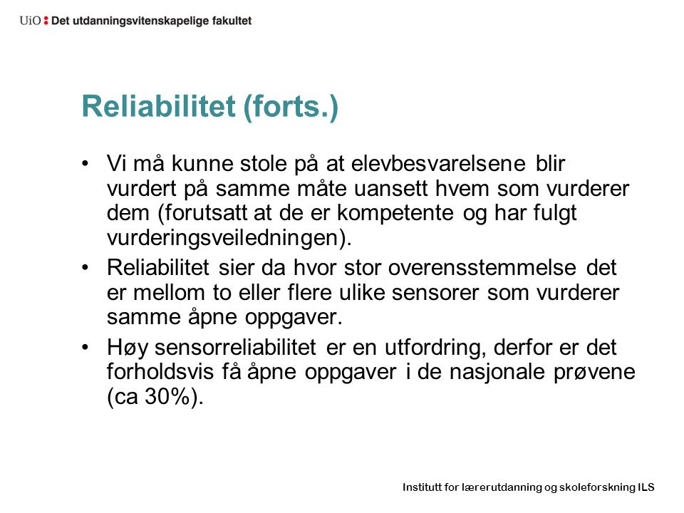 Reliabilitet (forts.)