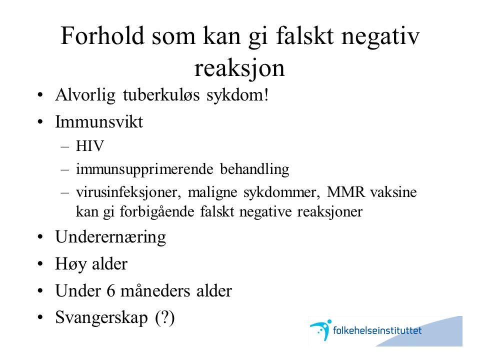 Forhold som kan gi falskt negativ reaksjon