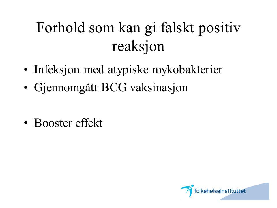 Forhold som kan gi falskt positiv reaksjon