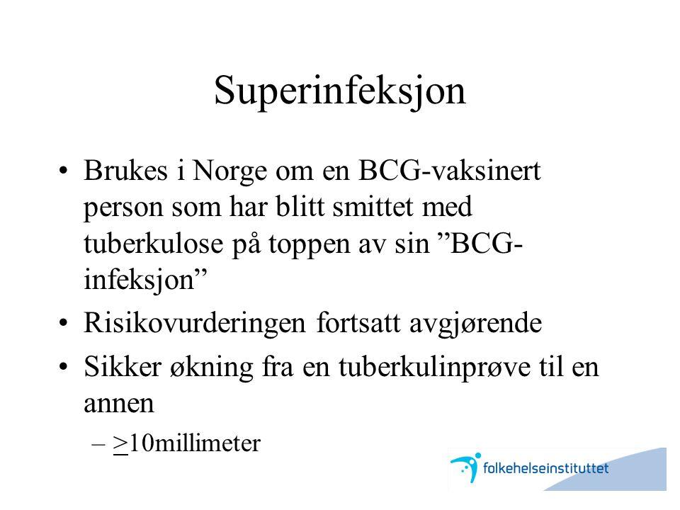 Superinfeksjon Brukes i Norge om en BCG-vaksinert person som har blitt smittet med tuberkulose på toppen av sin BCG-infeksjon