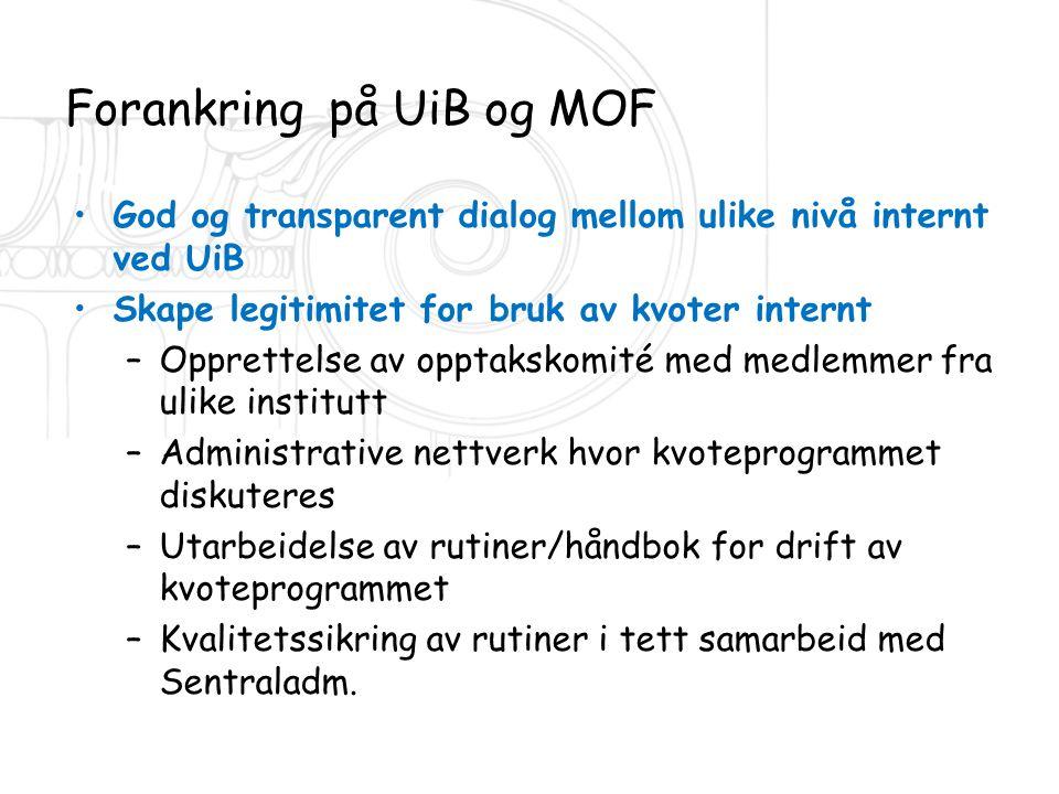 Forankring på UiB og MOF