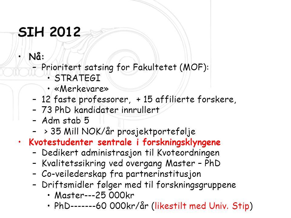 SIH 2012 Nå: Prioritert satsing for Fakultetet (MOF): STRATEGI