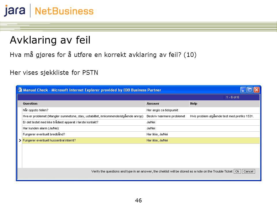 Avklaring av feil Hva må gjøres for å utføre en korrekt avklaring av feil (10) Her vises sjekkliste for PSTN.