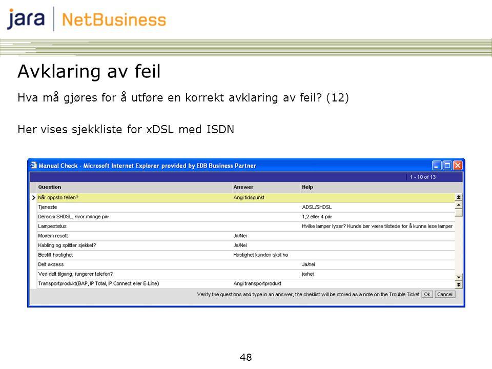 Avklaring av feil Hva må gjøres for å utføre en korrekt avklaring av feil (12) Her vises sjekkliste for xDSL med ISDN.