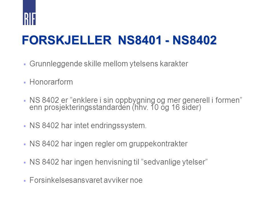 FORSKJELLER NS8401 - NS8402 Grunnleggende skille mellom ytelsens karakter. Honorarform.