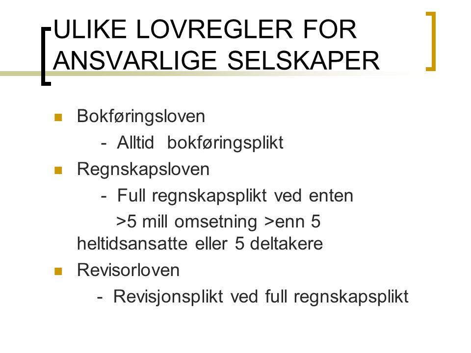ULIKE LOVREGLER FOR ANSVARLIGE SELSKAPER
