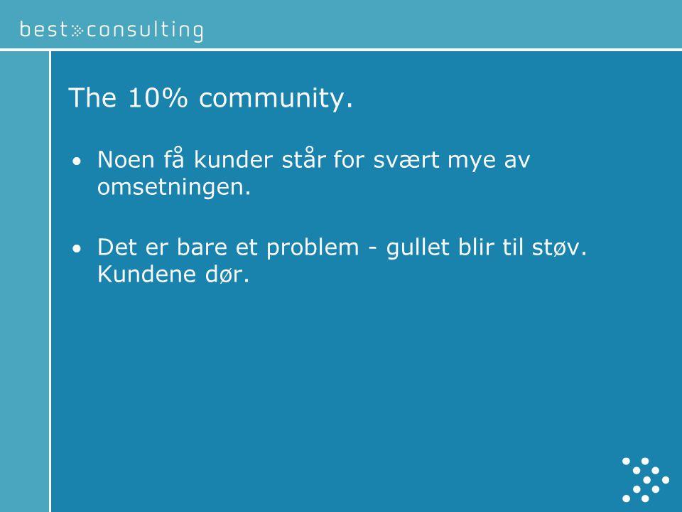 The 10% community. Noen få kunder står for svært mye av omsetningen.