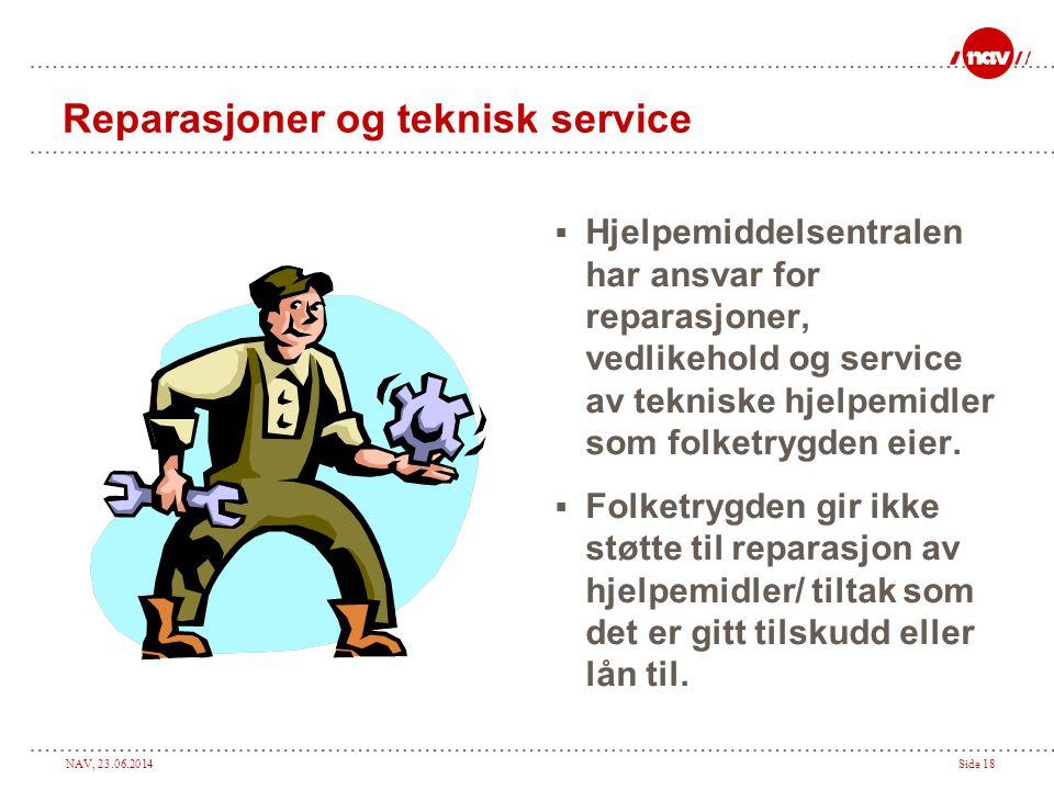 Reparasjoner og teknisk service
