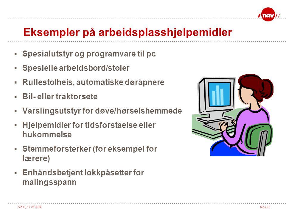 Eksempler på arbeidsplasshjelpemidler