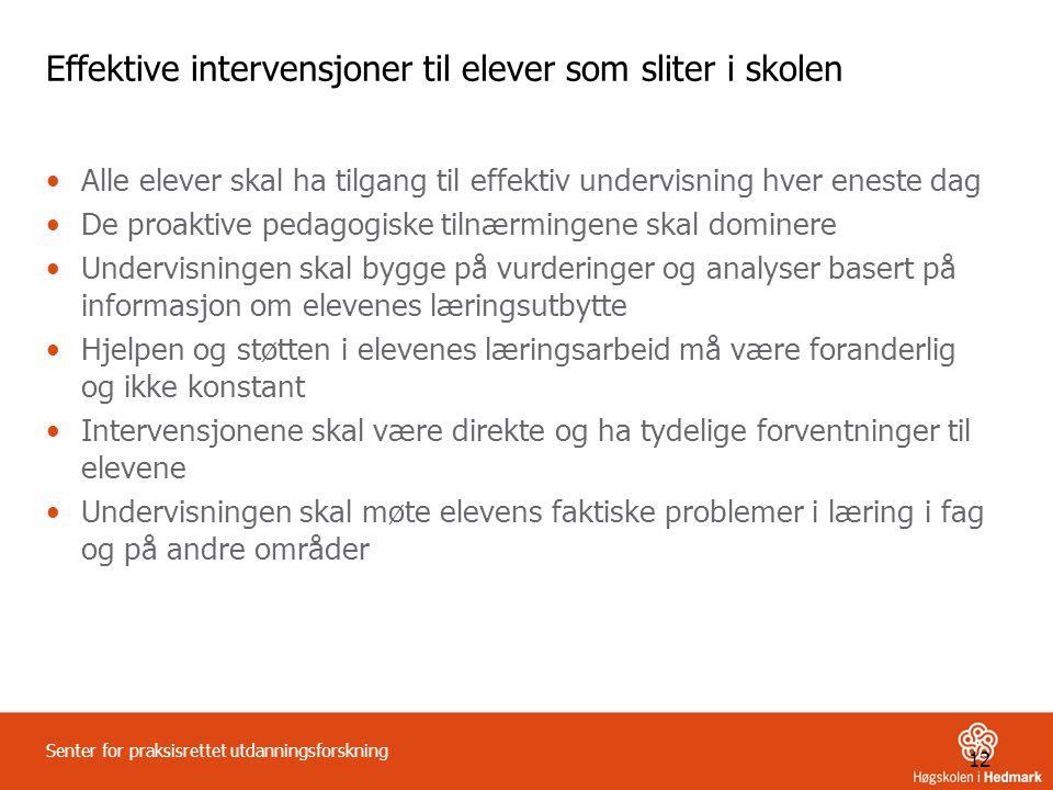 Effektive intervensjoner til elever som sliter i skolen