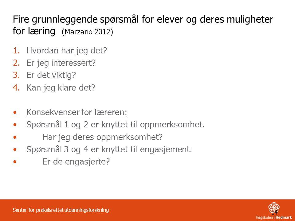 Fire grunnleggende spørsmål for elever og deres muligheter for læring (Marzano 2012)